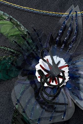 CAROLINA HERRERA ベルト&フローラルアップリケ付き 刺繍入り デニム ワンピース