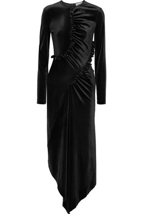 PREEN by THORNTON BREGAZZI Tegan asymmetric ruched velour midi dress