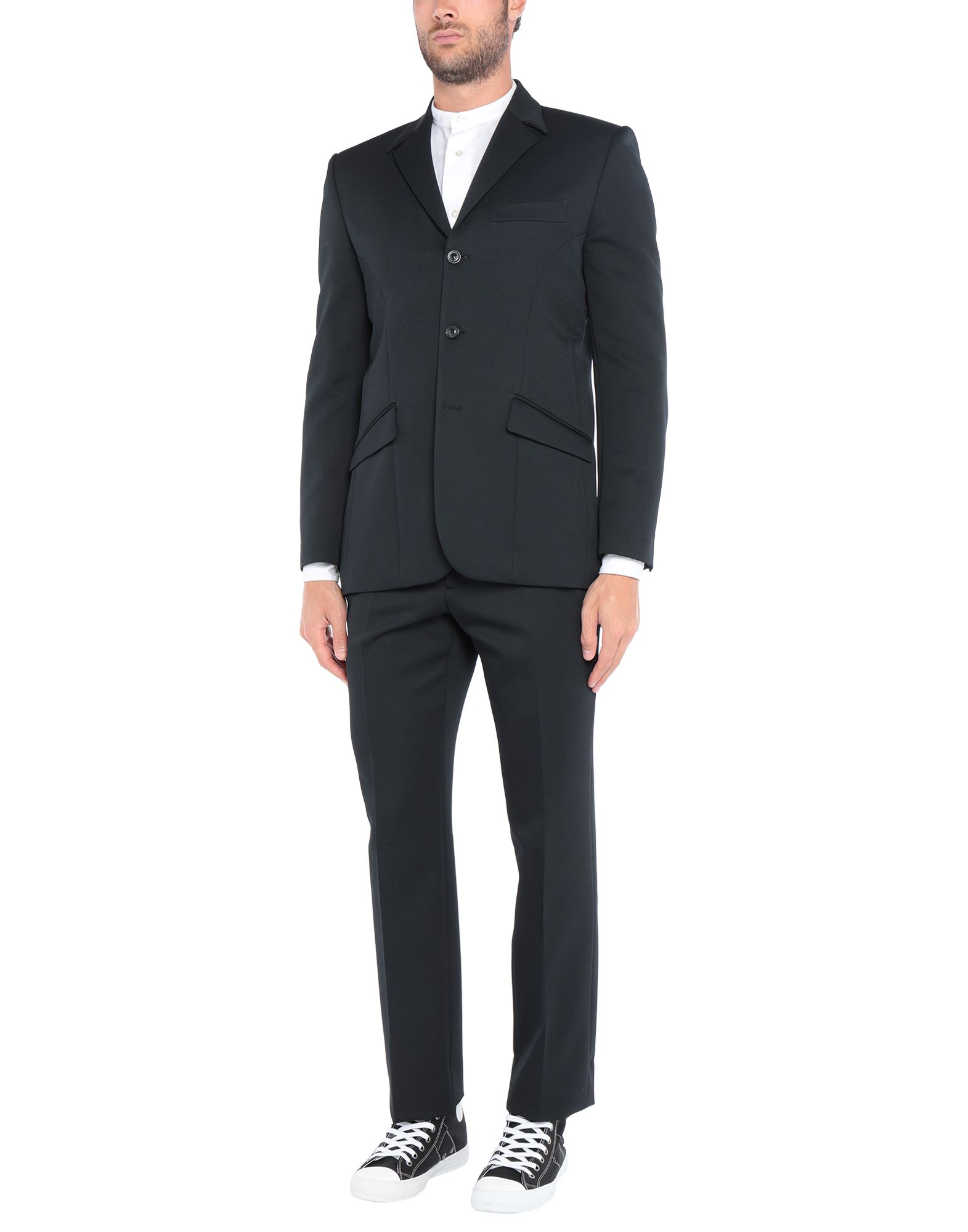 MAISON MARGIELA Suits. plain weave, no appliqués, basic solid color, multipockets, pocket with flap, single chest pocket, two inside pockets, 3 buttons, lapel collar, single-breasted, long sleeves, fully lined, mid rise, straight-leg pants, hook-and-bar, zip. 100% Polyester