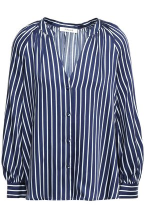 FRAME Gathered striped satin-twill blouse