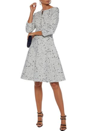 Oscar De La Renta Dresses OSCAR DE LA RENTA WOMAN FLARED BRUSHED SILK-BOUCLÉ DRESS LIGHT GRAY