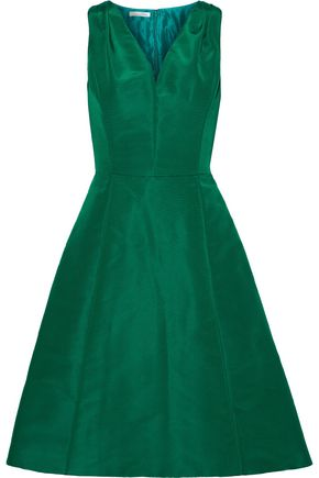 OSCAR DE LA RENTA Flared silk-faille dress