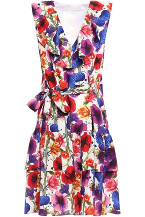 BORGO DE NOR Carla ruffled floral-print crepe de chine dress
