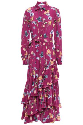 BORGO DE NOR Aurora tiered floral-print silk crepe de chine maxi dress