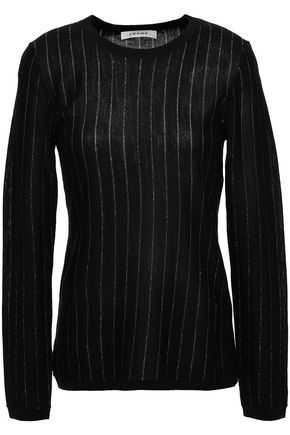 FRAME Metallic pinstriped knitted top