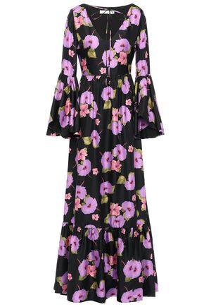BORGO DE NOR Florencia floral-print silk-satin twill maxi dress