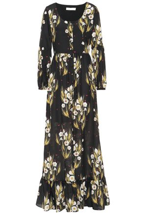 BORGO DE NOR Mina floral-print crepe de chine maxi dress