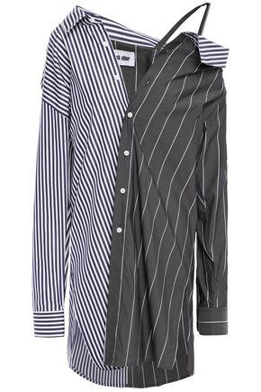 EACH X OTHER Oversized cold-shoulder striped cotton-blend poplin shirt