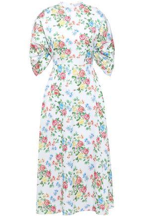 EMILIA WICKSTEAD Carmen floral-print hammered-satin midi dress