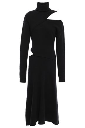 EACH X OTHER Cutout merino wool and cashmere-blend turtleneck midi dress