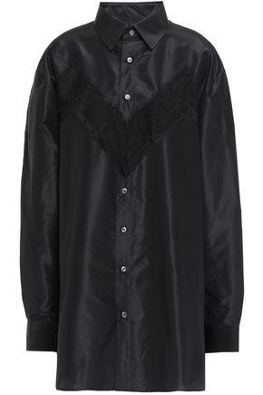 MAISON MARGIELA Lace-trimmed silk-taffeta shirt