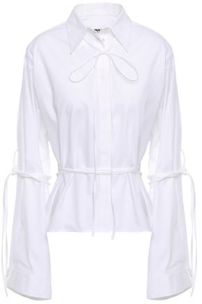 MM6 MAISON MARGIELA Bow-embellished cotton-poplin shirt
