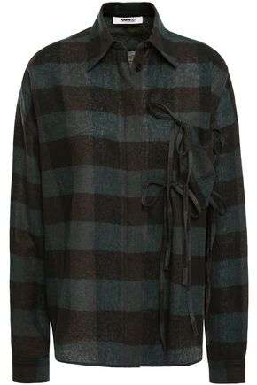 MM6 MAISON MARGIELA Bow-embellished checked wool-jacquard shirt