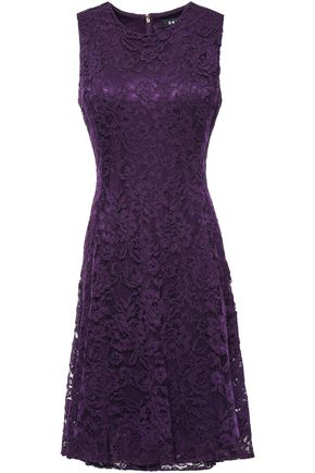 DKNY Flared corded lace dress
