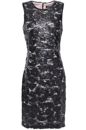 DKNY Sequined embroidered tulle dress