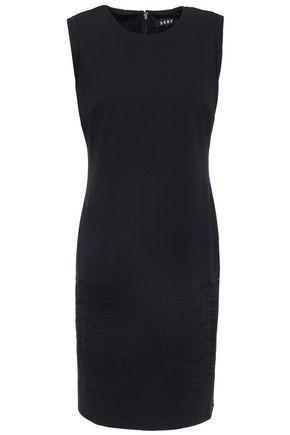DKNY Laser-cut stretch-knit sheath dress
