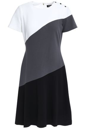DKNY Button-detailed color-block stretch-crepe dress