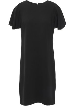 DKNY Bead-trimmed stretch-crepe mini dress