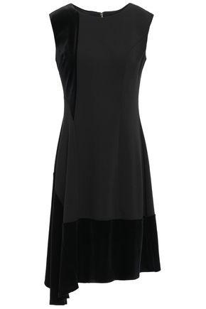 DKNY Asymmetric velvet-paneled stretch-crepe dress