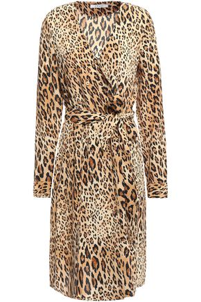 FRAME Double-breasted leopard-print silk crepe de chine dress