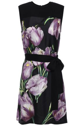 DOLCE & GABBANA Floral-print cashmere and silk-blend mini dress