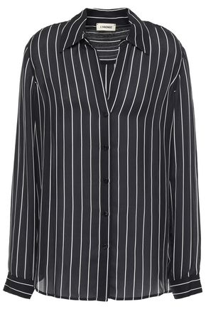 L'AGENCE Nina striped silk-crepe shirt