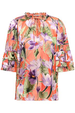 ALICE + OLIVIA Julius tie-neck floral-print burnout satin blouse
