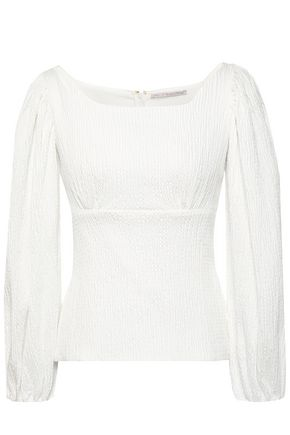 EMILIA WICKSTEAD Vella gathered cotton-blend seersucker top