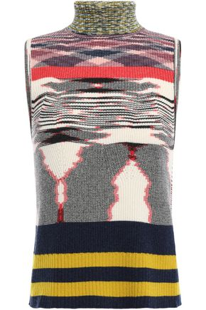 MISSONI Ribbed intarsia cashmere turtleneck sweater