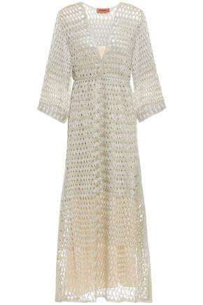 MISSONI Wrap-effect metallic open-knit midi dress