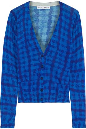 ALTUZARRA Checked silk and cotton-blend cardigan