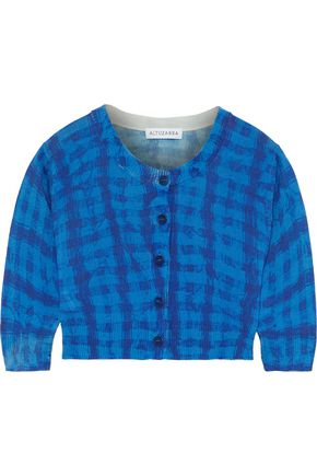 ALTUZARRA Anita cropped checked silk and cotton-blend cardigan