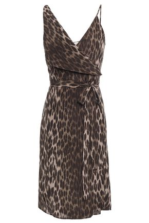 L'AGENCE Julieta leopard-print silk crepe de chine wrap dress