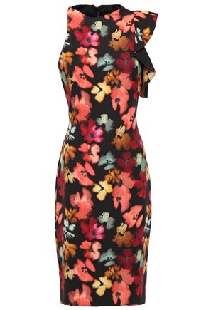 BLACK HALO Ruffled floral-print crepe dress