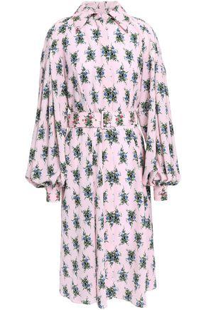 EMILIA WICKSTEAD Clarisse belted floral-print crepe shirt dress