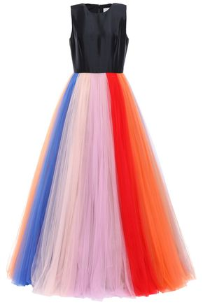 CAROLINA HERRERA Faille-paneled pleated color-block tulle gown