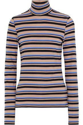 PROENZA SCHOULER Striped stretch cotton-jersey turtleneck top