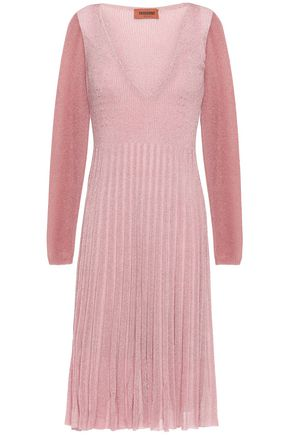 MISSONI Pleated metallic ribbed-knit dress