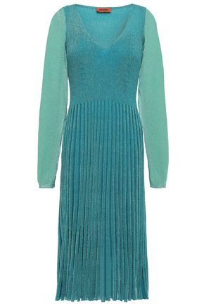 MISSONI Pleated metallic ribbed-knit dress