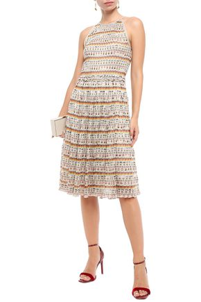Missoni Dresses MISSONI WOMAN RUFFLE-TRIMMED METALLIC CROCHET-KNIT DRESS CREAM
