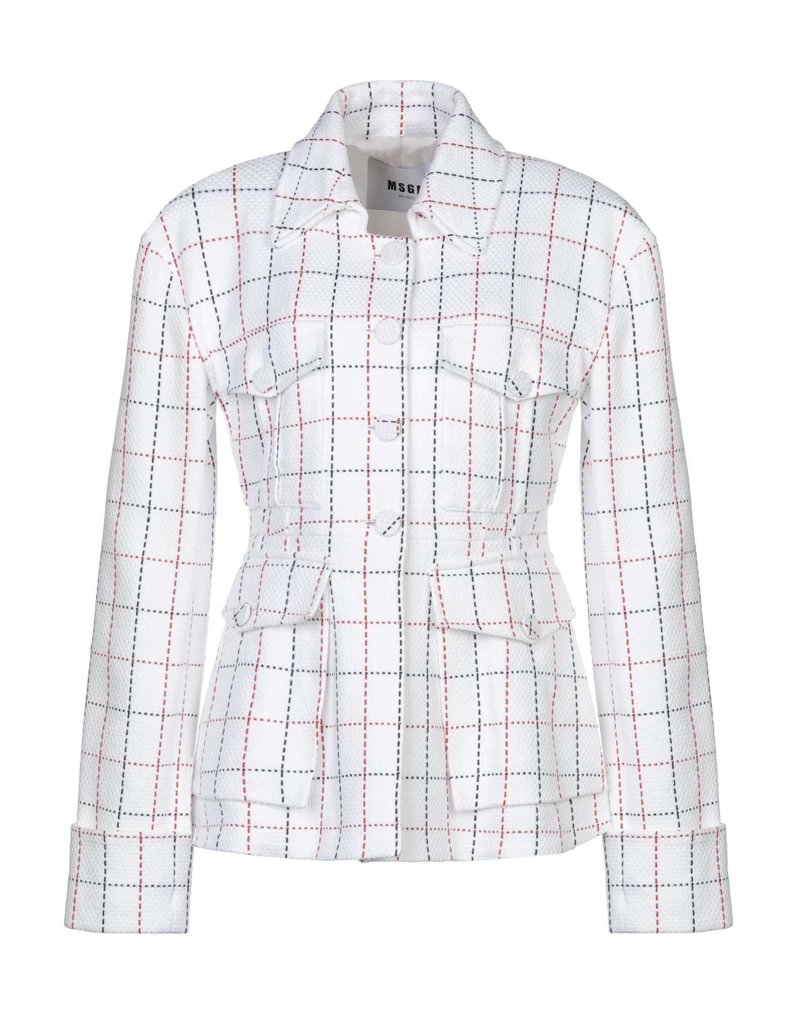 MSGM Suit jackets. tweed, no appliqués, checked, multipockets, two breast pockets, button closing, classic neckline, single-breasted, long sleeves, fully lined. 48% Polyamide, 40% Cotton, 12% Polyester