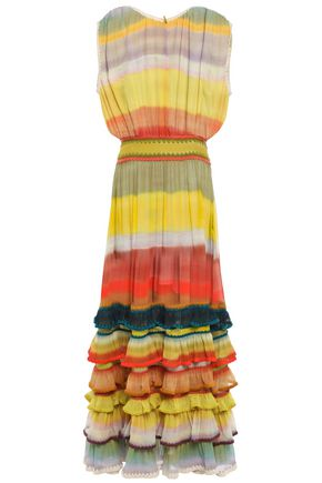 MISSONI Tiered striped silk-georgette maxi dress