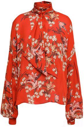 JOHANNA ORTIZ Tie-neck floral-print silk blouse