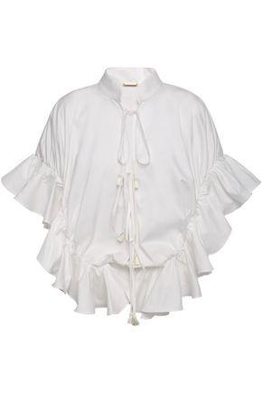 JOHANNA ORTIZ Bora Bora tie-front ruffled cotton-blend poplin blouse