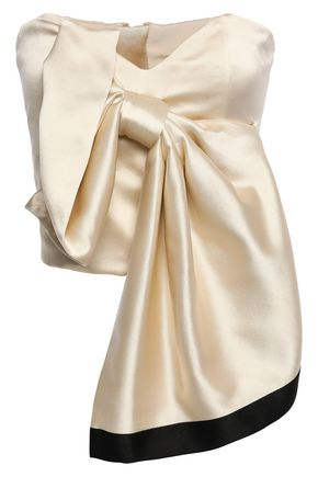 JOHANNA ORTIZ Las Meninas Top bow-embellished strapless silk-satin top