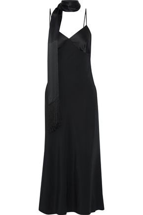 IRIS & INK + Julia Restoin Roitfeld Carine satin-paneled silk-blend midi slip dress
