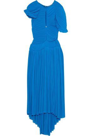 PREEN by THORNTON BREGAZZI Milly cutout plissé-chiffon midi dress