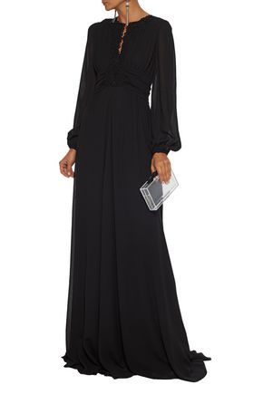Giambattista Valli Woman Guipure Lace-Trimmed Ruched Georgette Gown Black