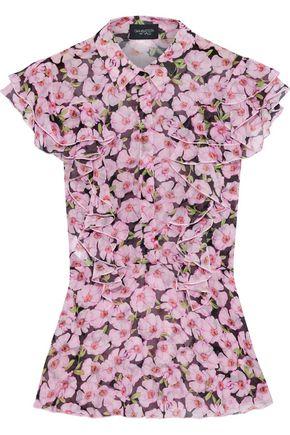 GIAMBATTISTA VALLI Ruffled floral-print silk-georgette blouse