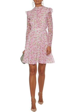 Giambattista Valli Woman Ruffle-Trimmed Floral-Print Silk-Georgette Mini Dress Baby Pink